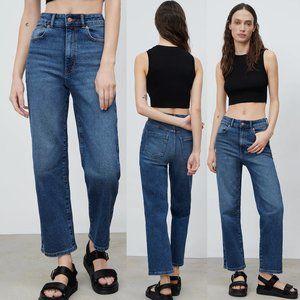 NEW Zara Z1975 Super High Rise Waist Straight Trouser Vintage Slim Denim Jean 8